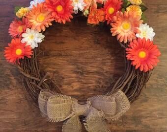 Daisy Wreath with Burlap Bow