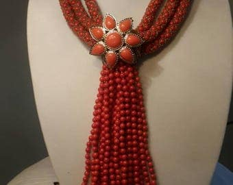 Coral colored beaded necklace set