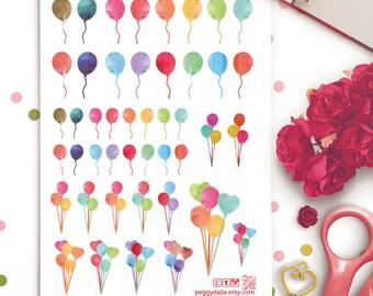 Mini Watercolor Balloon Birthday Party Planner Stickers | Erin Condren | Birthday Stickers | Watercolor Balloon | Balloon stickers