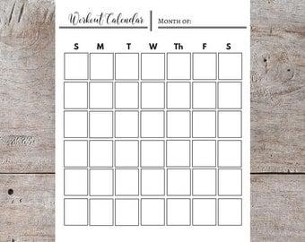 Workout Calendar, Printable Calendar, Generic Printable Calendar, Monthly Calendar, Vertical Calendar, Plain Calendar, Black and White