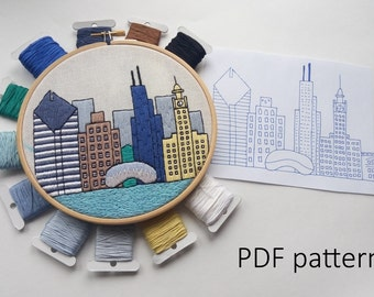 Chicago Hand Embroidery pattern PDF.Embroidery Hoop art, Hand Embroidery, Wall Decor, Housewarming Gift. Free Hand embroidery guide!