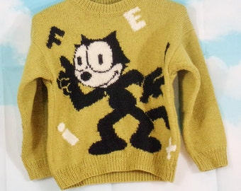 Kid yellow sweater Motif Felix the hand-knitted cat K4U-Créations