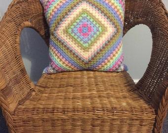 Pretty Granny Square Crochet Cushion