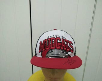 Rare Vintage CAROLINA MUDCATS Big Logo Spell Out Embroidered With Signature Cap Hat Free size fit all