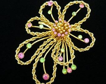 SIGNED Coro Rhinestone Brooch, Rhinestone Brooch, Antique Brooches, Coro Jewelry, Antique Brooches, Coro Pins Brooches, Flower Brooch, C1940