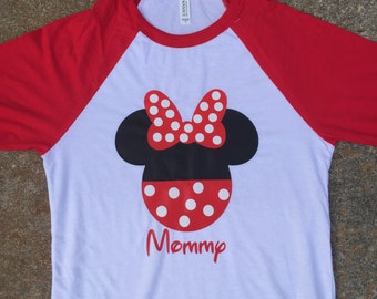 Minnie Mouse head shirt with name raglan, long sleeve shirt, or short sleeve shirt