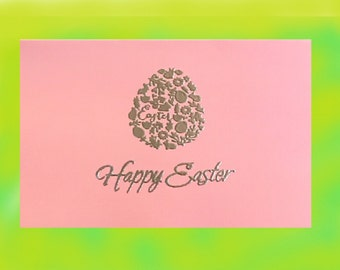 Easter Card, embossed Easter Card, Easter Egg Stationary, Easter Egg Card, Pastel Easter Stationary, Happy Easter Stationary