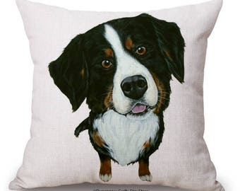 "Collie Black and White Cushion Cover - 18"" by 18"" - Cute Dog Cushion"