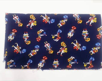Vintage fabric, baby fabric, toddler retro fabric, holly hobby style, 1960's fabric