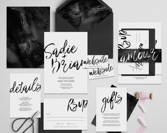 "Printable Wedding Invitation Suite ""Inka"" - Printable DIY Invite, Affordable Wedding Invitation"
