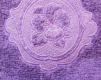 Embossed Pansy Hand Towel - Embossed Embroidered Pansy Hand Towel - Bathroom Pansy - Spring Flowers Decor - Embroidered Pansy Kitchen Towel
