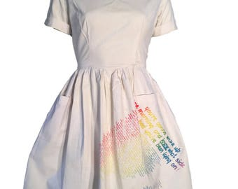 """BOY London 1983 Cotton Dress """"Your'e Gonna Wake Up"""" Hand Printed"""