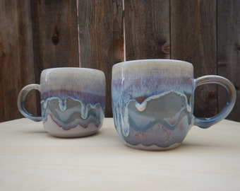 Ceramic Mug Set of Two - Mountain Dripping Glaze Design in Blue Purple Pink