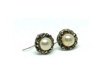 Antique Edwardian Earrings | Marcasite Earrings | Pearl Earrings | Silver Earrings | Drop Earrings | Estate Earrings