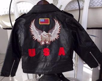 Toddler Size 3T New Little Patriot Jacket/USA Jacket /Faux Leather jacket/Bomber Jacket