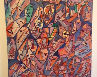 """Original Oil Painting by Bernie Korman, Faces of New Yorkers"""""""