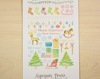"""Christmas - Holiday Watercolor Planner Stickers, """"Hung by the Chimney with Care"""" (Inkwell Press, Erin Condren, Plum Paper, Fliofax, Kikki K)"""