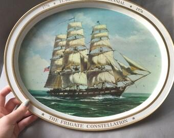 Frigate Constellation Bicentennial Tray // Decorative Tray  // Gold Home Decor // Vintage Tray // Tin Tray // Vintage Ship Decor (B8)
