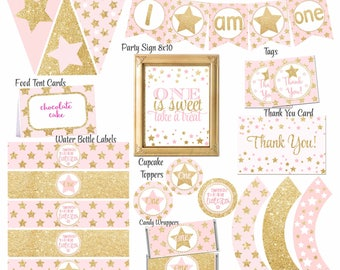 Twinkle Twinkle Little Star First Birthday, 1st Birthday party package, Pink and Gold Party Package, Twinkle little star party,Digital