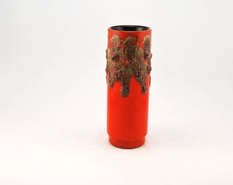 Stein Keramik Orange Fat Lava vase 6 20