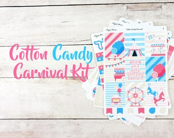 Cotton Candy Carnival Weekly Kit - Planner Stickers