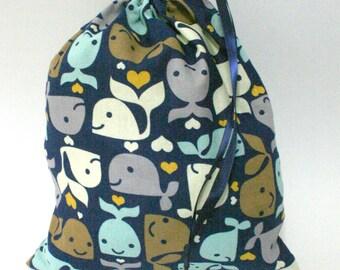 Smiling Whales Drawstring Bag