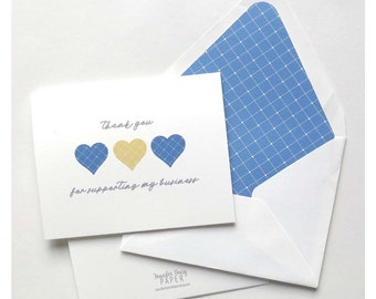 Chloe and Isabel Thank You Cards - Thank You for Supporting My Business - Referral Thank You - Three Hearts Argyle