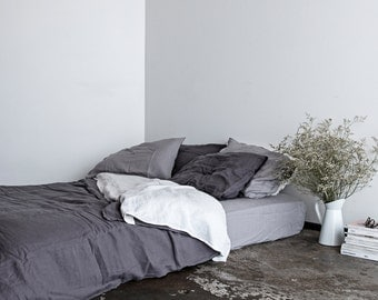 100% Pure Linen Duvet & Pillowcases - Charcoal - Stone Washed Flax Bedding