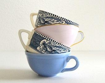 vintage lot of mismatched mugs currier and ives blue pink mugs