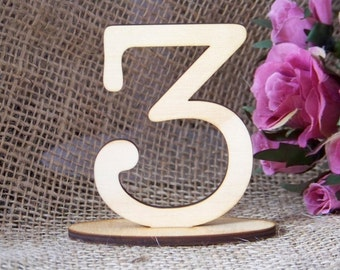 12.5cm Table Number SETS, Wedding,Party,Restaurant or Club Table No's/Timber/Ply/ Wood/Wooden/FREESTANDING  by VividLaser-A