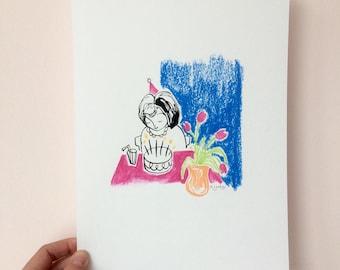 Birthday Tulips - Original A4 Mixed Media Illustration