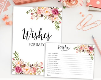 Wishes For Baby - Baby Shower Printable, Wishes For Baby Printable, Wishes For Baby Girl, Wishes For Baby Cards And Sign, Floral Wishes, C1