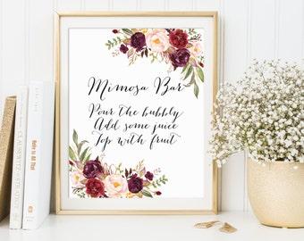 Mimosa Bar Sign, Mimosa Sign, Wedding Sign, Bridal Shower Sign, Bubbly Bar Sign, Wedding Bar Sign, Marsala Wedding Decor, Mimosa Bar Print