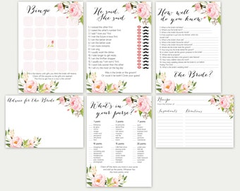 Bridal Shower Games, Bridal Shower Game Set, Bridal Game Set, Bridal Games Bundle, Printable Bridal Games, Bridal Tea Games, Floral Game Set