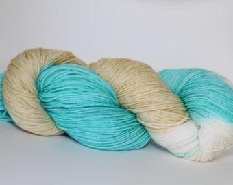 Dye to order, Waves on the Beach, hand dyed 80/20 superwash merino/nylon fingereing weight yarn