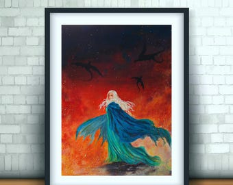 Game of Thrones  - Daenerys Painting Fanart  Illustration  Art Print