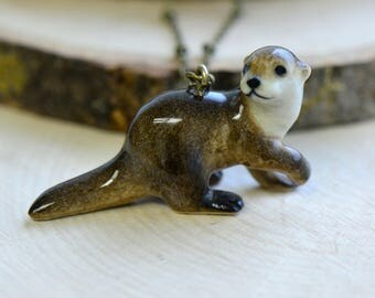 Hand Painted Porcelain Long Tail River Otter Necklace, Antique Bronze Chain, Vintage Style, Ceramic Animal Pendant & Chain (CA112)
