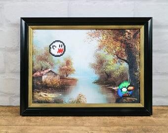 Luigi, Pixel Art, Game Art, 8 Bit Art, Reproduced Painting