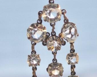 1920's Long Flapper Chandelier Paste Earrings in Silver