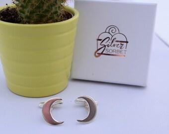Half moon cufflinks, sterling silver cufflinks, mens accessories, mens jewellery, hallmarked and handmade, cufflinks