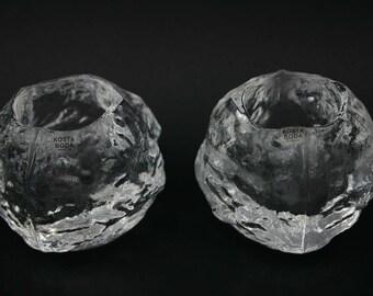 "Set of 2 Ann Wärff Crystal Candle Holder Kosta Boda ""Snowball"""