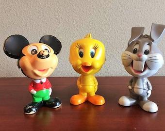 Set of 3 1970's Mattel Cartoon Character Talking Pull String Toys