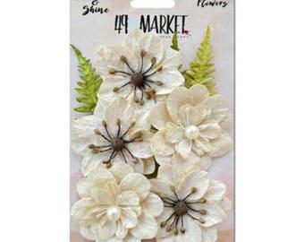 49 & Market Shimmer Shine Ivory Jardin - 49 And Market Ivory Jardin Flowers - Ivory Scrapbook Flowers - Ivory Cream Embellishments - 1-038