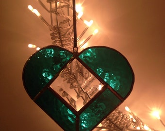 Hanging Stained Glass Heart suncatcher