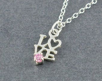 LOVE Sterling Silver Charm Necklace