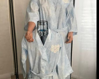 """Mommy and Me Kimono Robes , 100% cotton Size Small/ Medium and Girl's 6-8 Mother's Day Present """"Crochet Appliqué Roses on Heavenly Blue"""""""