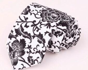 Black Floral Skinny Tie Boyfriend Gift Men's Gift Anniversary Gift for Men Husband Gift Wedding Gift For Him Groomsmen Gift for Friend Gift