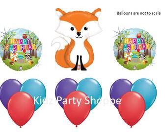 Woodland Animals Fox Balloon SET Happy Birthday Party Decorations Centerpiece Prop