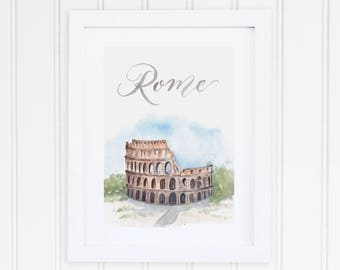 Watercolor Rome Italy Print | Rome Colosseum Watercolor Art | Rome Colosseum Painting | Rome Travel Art | City Print Set | Italy Art