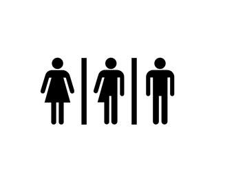 Transgender Bathroom Decal - Trans, Gay Pride Decal, Restroom Decal, Bathroom Decal